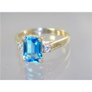 R171, Swiss Blue Topaz, Gold Ring