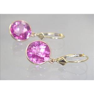 E211, Pure Pink Topaz, 14k Gold Earrings