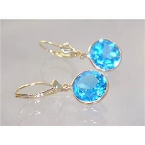 E211, Swiss Blue Topaz, 14k Gold Earrings