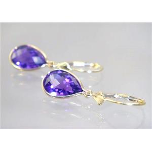 E221, Amethyst, 14k Gold Earrings