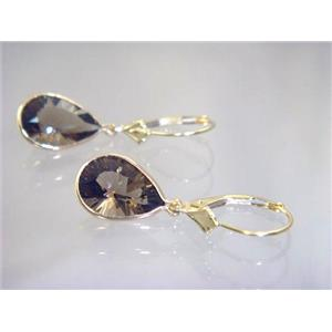 E221, Smoky Quartz, 14k Gold Earrings