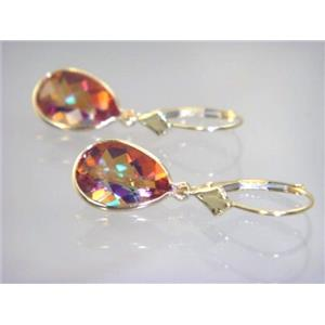 E221, Twilight Fire Topaz, 14k Gold Earrings