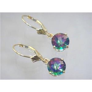 E117, Mystic Fire Topaz, 14k Gold Earrings