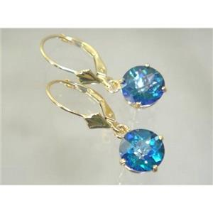 E117, Neptune Garden Topaz, 14k Gold Earrings