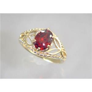 R137, Garnet CZ, Gold Ring