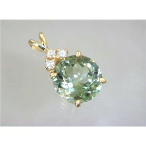 P087, Green Amethsyt 14k Gold Pendant