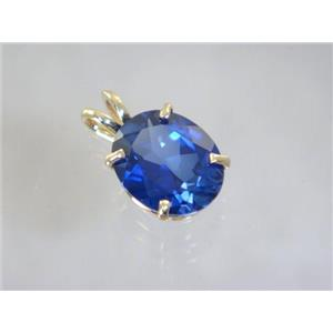P040, Created Blue Sapphire 14k Gold Pendant
