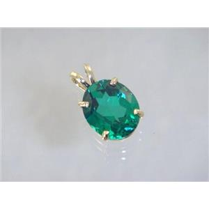 P040, Russian Nanocrystal Emerald, 14k Gold Pendant