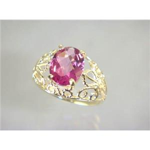 R162, Pure Pink Topaz, Gold Ring