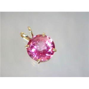 P088, Pure Pink Topaz 14K Gold Pendant