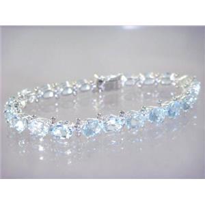 SB001, Aquamarine, 925 Sterling Silver Bracelet