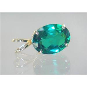 P004, Russian Nanocrystal Emerald, 14k Gold Pendant
