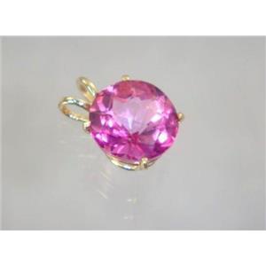 P089, Pure Pink Topaz 14K Gold Pendant