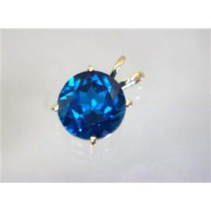 P089, London Blue Topaz 14K Gold Pendant