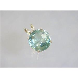 P089, Green Amethyst 14K Gold Pendant
