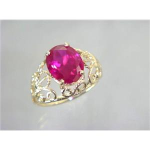R162, Created Ruby, Gold Ring