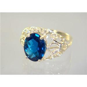 R162, London Blue Topaz, Gold Ring