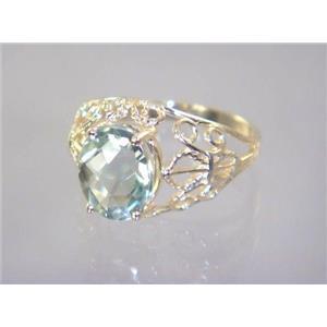 R162, Green Amethyst, Gold Ring