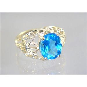 R162, Swiss Blue Topaz, Gold Ring