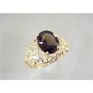 R162, Smoky Quartz, Gold Ring