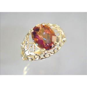 R162, Twilight Fire Topaz, Gold Ring