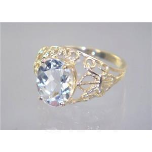 R162, Silver Topaz, Gold Ring