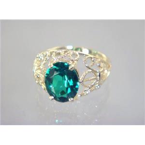 R162, Russian Nanocrystal Emerald, Gold Ring