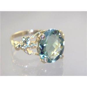 R154, Green Amethyst, Gold Ring