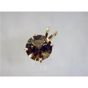 P088, Smoky Quartz 14K Gold Pendant
