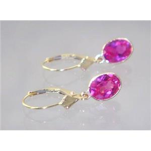 E001, Created Pink Sapphire, 14k Gold Earrings