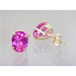 E002, Created Pink Sapphire 14K Gold Earrings, 3 cts