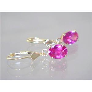 E007, Created Pink Sapphire, 14k Gold Earrings