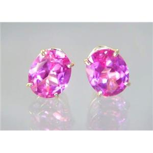 E102, Created Pink Sapphire, 14k Gold Earrings