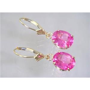 E107, Created Pink Sapphire, 14k Gold Earrings