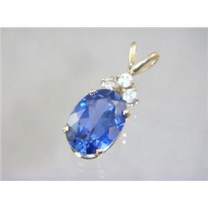 P043, Created Sapphire 14K Gold Pendant