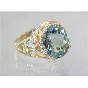 R114, Green Amethyst, Gold Ring
