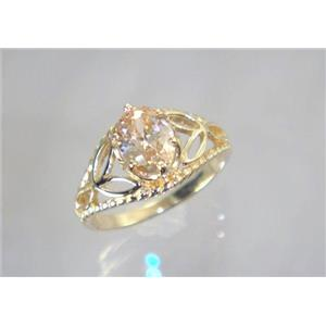 R137, Champagne CZ, Gold Ring