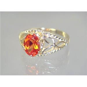 R137, Created Padparadsha Sapphire, Gold Ring