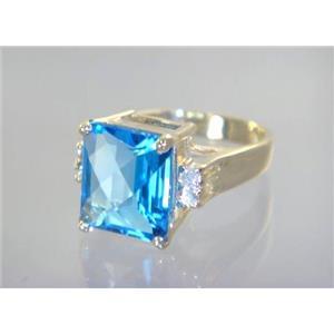 R183, Swiss Blue Topaz, Gold Ring