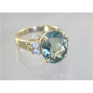 R244, Green Amethyst, Gold Ring