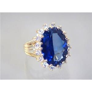 R270, Created Blue Sapphire, Gold Ring