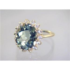 R283, Green Amethyst, Gold Ring