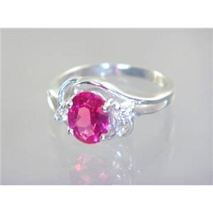 SR176, Created Pink Sapphire, 925 Sterling Silver Ring