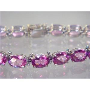 SB002, Pure Pink Topaz, 925 Sterling Silver Bracelet