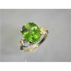 R154, Peridot, Gold Angel Ring