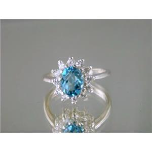 SR235, Swiss Blue Topaz, 925 Sterling Silver Ring