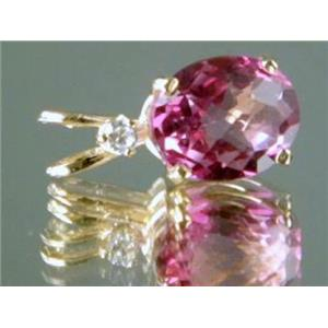 P022, Pure Pink Topaz 14K Gold Pendant w/accent