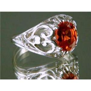 Created Padparadsha Sapphire, 925 Silver Ring, SR111