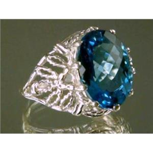 SR260, Swiss Blue Topaz, 925 Sterling Silver Ring