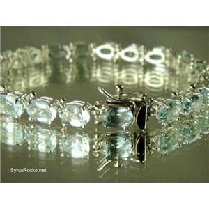 SB002, Aquamarine, 925 Sterling Silver Bracelet